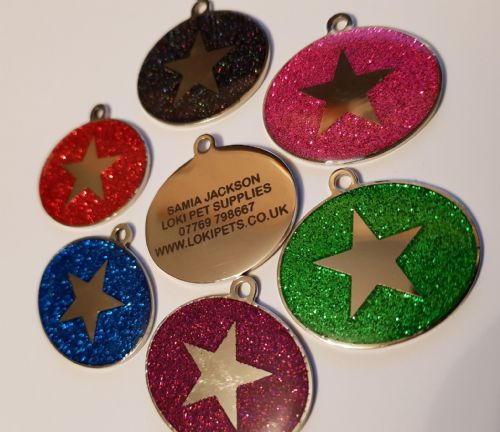 Glitter DOG tags 6 colours